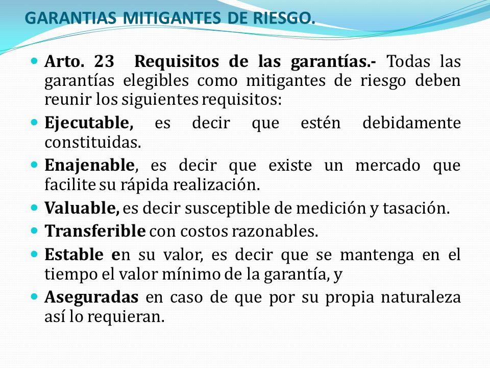 GARANTIAS MITIGANTES DE RIESGO. Arto. 23 Requisitos de las garantías.- Todas las garantías elegibles como mitigantes de riesgo deben reunir los siguie