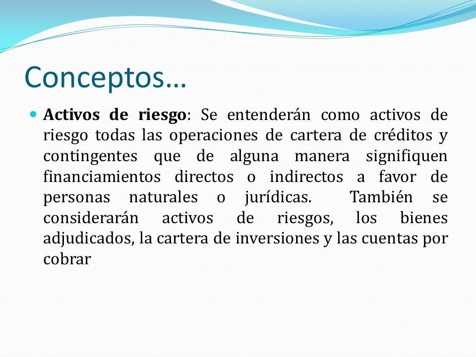 Conceptos… Activos de riesgo: Se entenderán como activos de riesgo todas las operaciones de cartera de créditos y contingentes que de alguna manera si