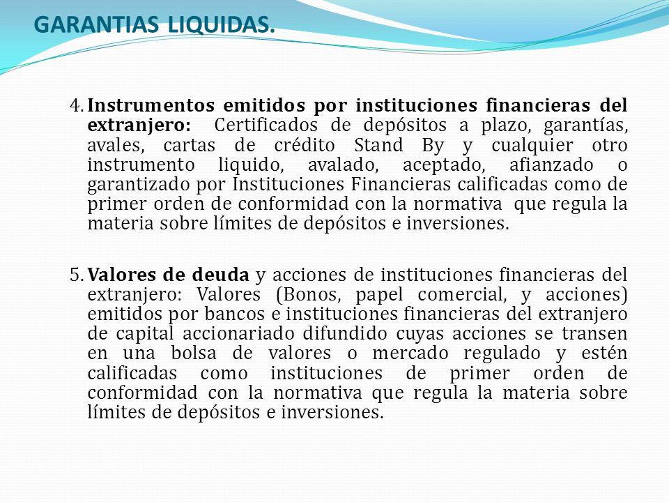 GARANTIAS LIQUIDAS. 4.Instrumentos emitidos por instituciones financieras del extranjero: Certificados de depósitos a plazo, garantías, avales, cartas