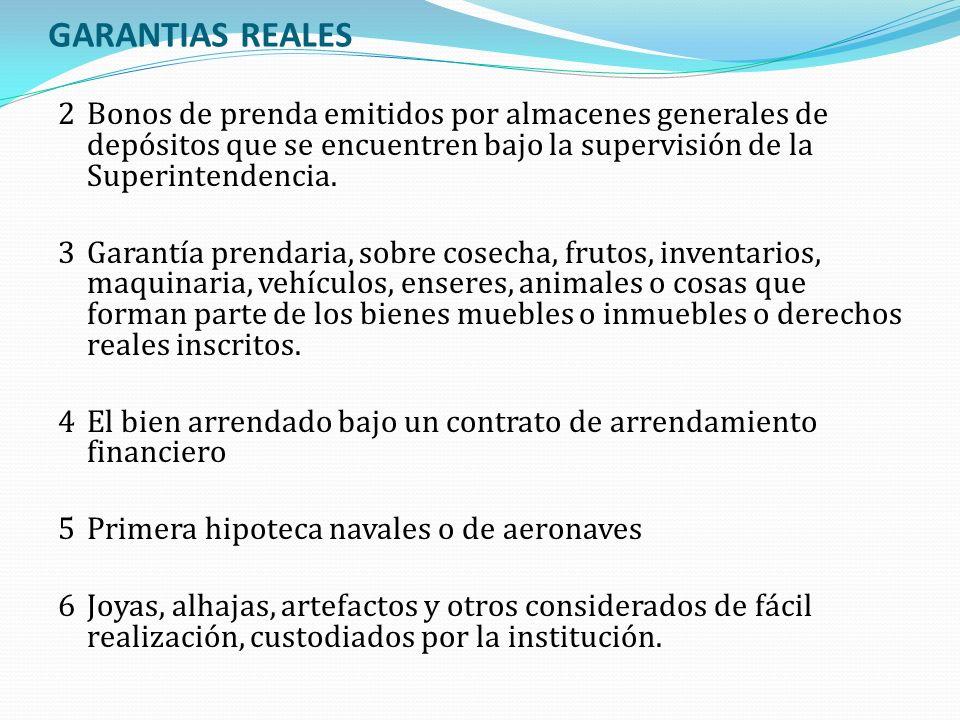 GARANTIAS REALES 2Bonos de prenda emitidos por almacenes generales de depósitos que se encuentren bajo la supervisión de la Superintendencia. 3Garantí