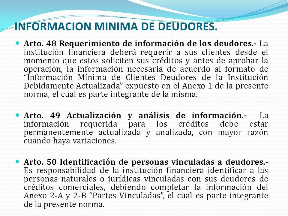 INFORMACION MINIMA DE DEUDORES. Arto. 48 Requerimiento de información de los deudores.- La institución financiera deberá requerir a sus clientes desde