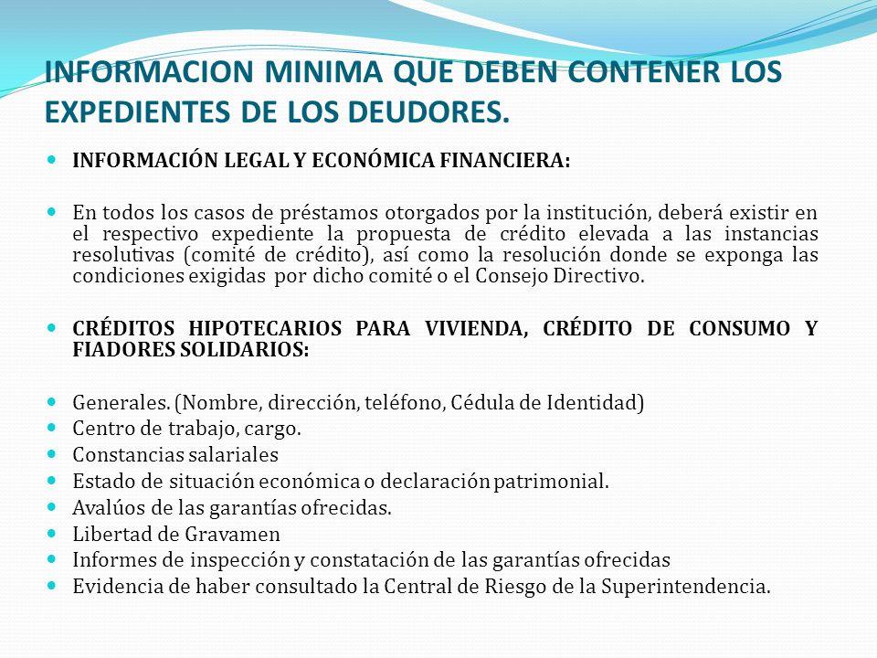 INFORMACION MINIMA QUE DEBEN CONTENER LOS EXPEDIENTES DE LOS DEUDORES. INFORMACIÓN LEGAL Y ECONÓMICA FINANCIERA: En todos los casos de préstamos otorg
