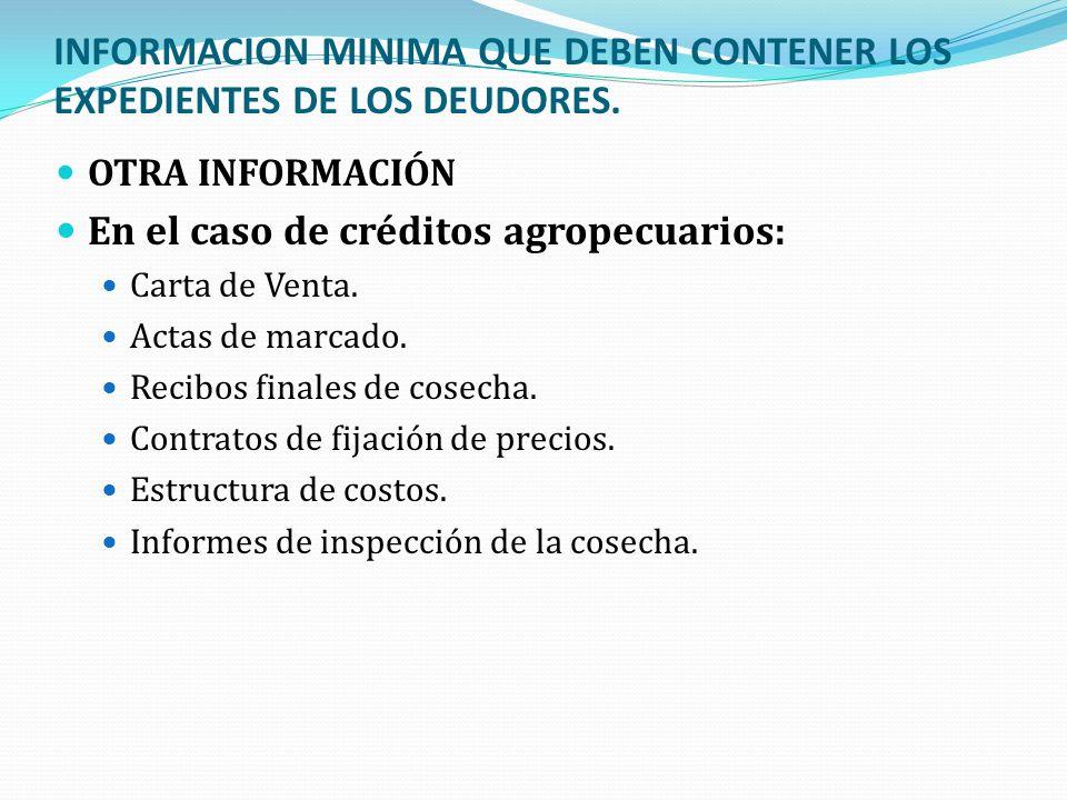 INFORMACION MINIMA QUE DEBEN CONTENER LOS EXPEDIENTES DE LOS DEUDORES. OTRA INFORMACIÓN En el caso de créditos agropecuarios: Carta de Venta. Actas de
