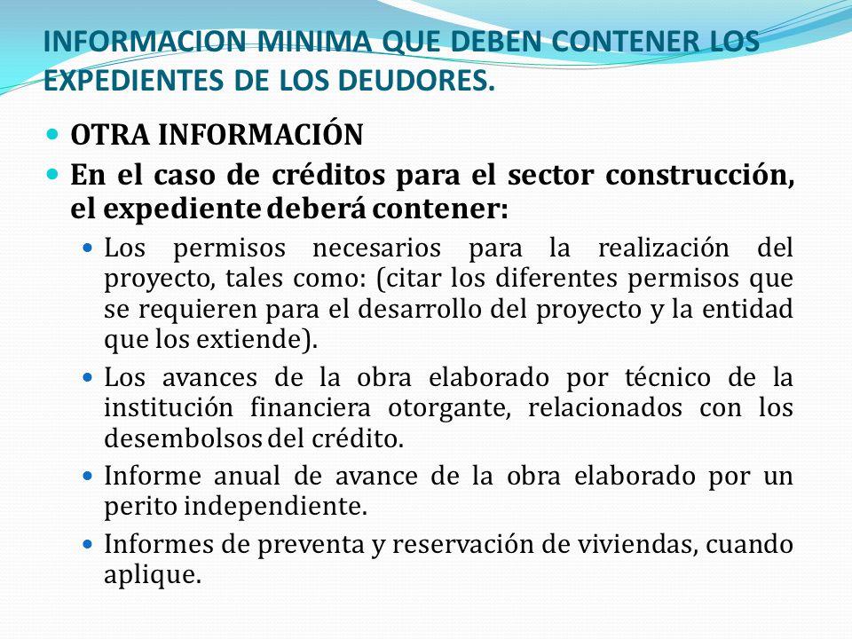 INFORMACION MINIMA QUE DEBEN CONTENER LOS EXPEDIENTES DE LOS DEUDORES. OTRA INFORMACIÓN En el caso de créditos para el sector construcción, el expedie