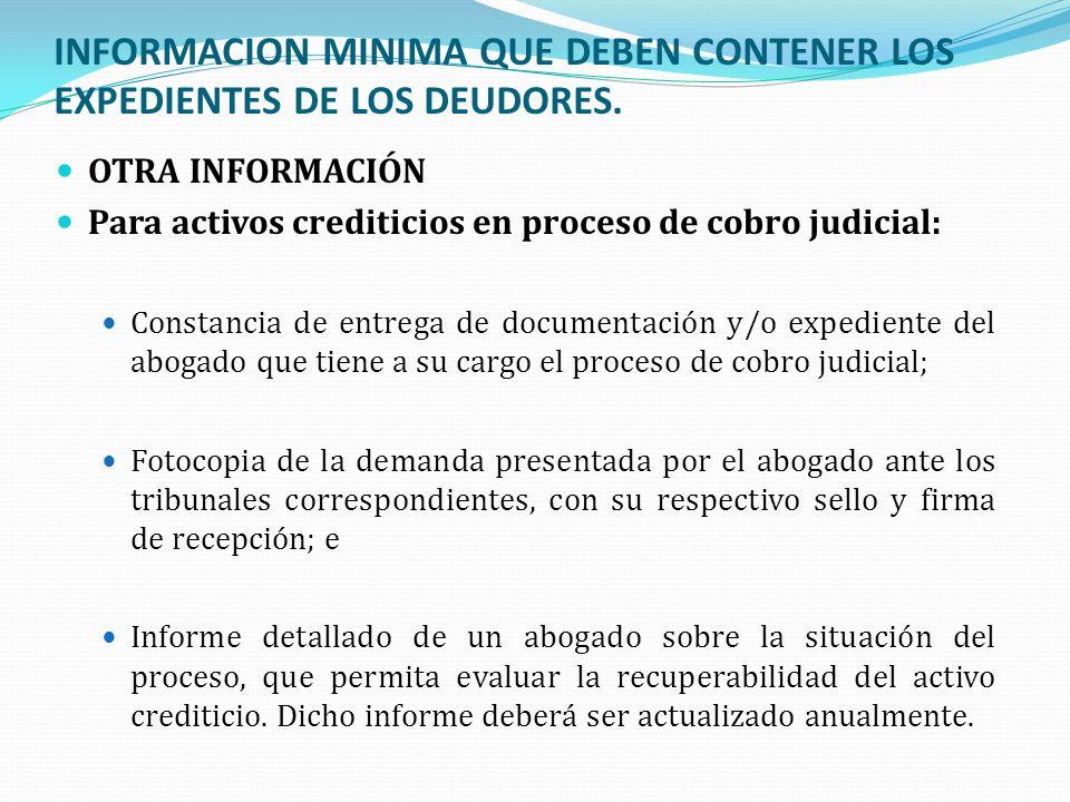INFORMACION MINIMA QUE DEBEN CONTENER LOS EXPEDIENTES DE LOS DEUDORES. OTRA INFORMACIÓN Para activos crediticios en proceso de cobro judicial: Constan