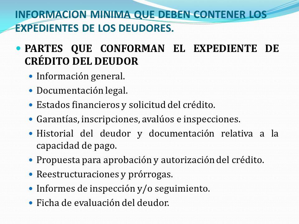 INFORMACION MINIMA QUE DEBEN CONTENER LOS EXPEDIENTES DE LOS DEUDORES. PARTES QUE CONFORMAN EL EXPEDIENTE DE CRÉDITO DEL DEUDOR Información general. D