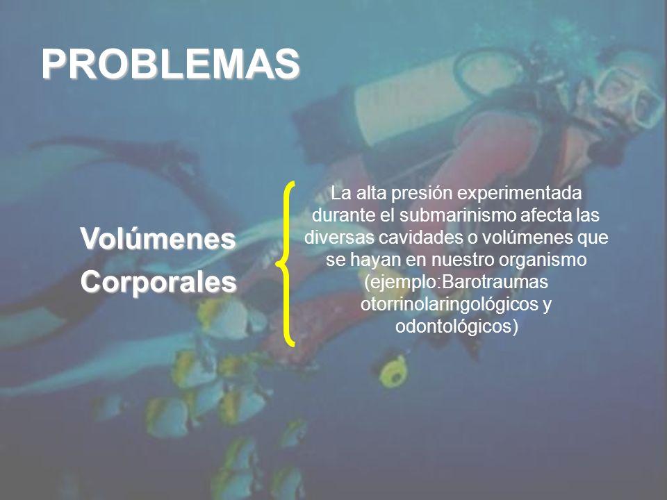 VolúmenesCorporales La alta presión experimentada durante el submarinismo afecta las diversas cavidades o volúmenes que se hayan en nuestro organismo (ejemplo:Barotraumas otorrinolaringológicos y odontológicos) PROBLEMAS