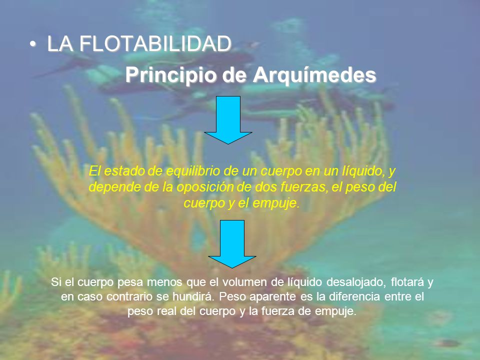 LA FLOTABILIDADLA FLOTABILIDAD Principio de Arquímedes El estado de equilibrio de un cuerpo en un líquido, y depende de la oposición de dos fuerzas, el peso del cuerpo y el empuje.