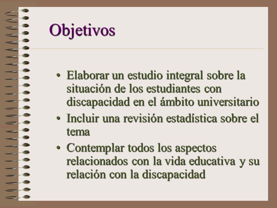 Objetivos Elaborar un estudio integral sobre la situación de los estudiantes con discapacidad en el ámbito universitarioElaborar un estudio integral s