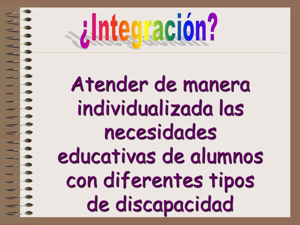 Atender de manera individualizada las necesidades educativas de alumnos con diferentes tipos de discapacidad