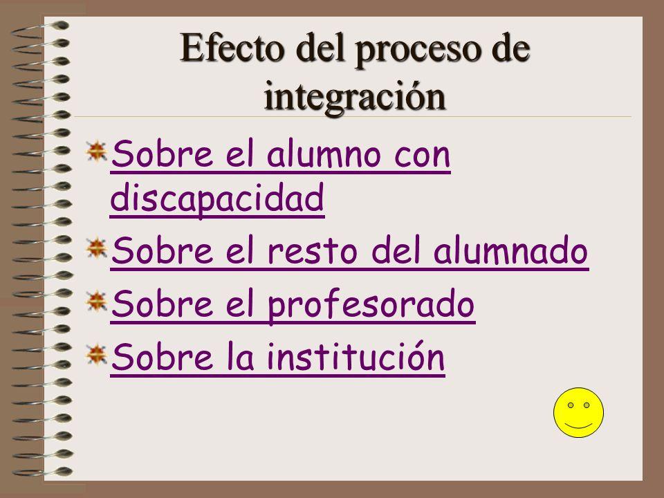 Efecto del proceso de integración Sobre el alumno con discapacidad Sobre el resto del alumnado Sobre el profesorado Sobre la institución