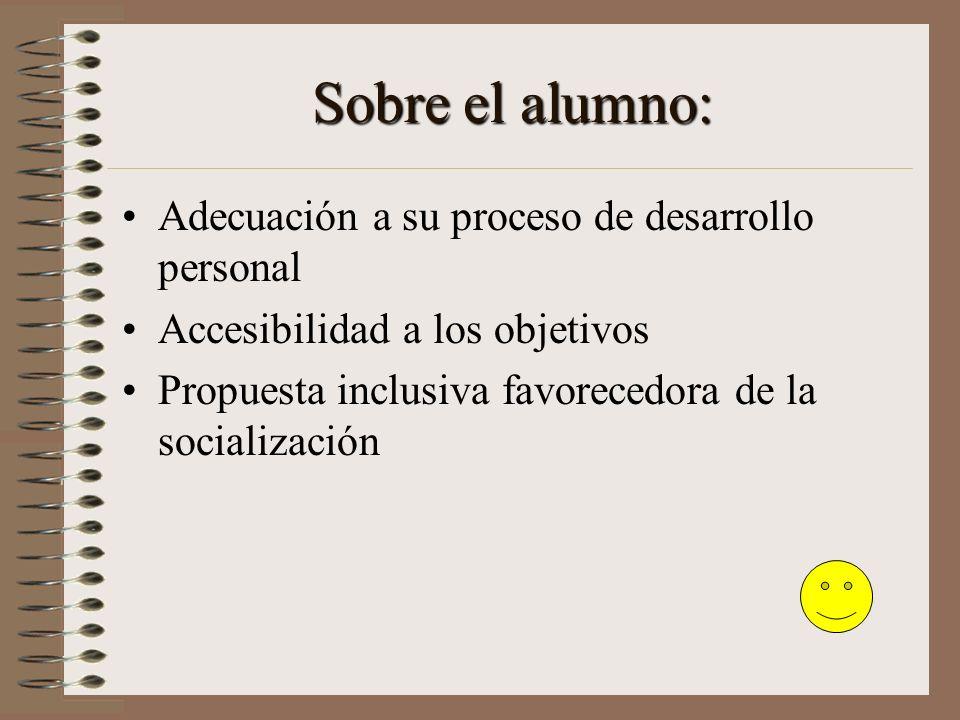 Sobre el alumno: Adecuación a su proceso de desarrollo personal Accesibilidad a los objetivos Propuesta inclusiva favorecedora de la socialización