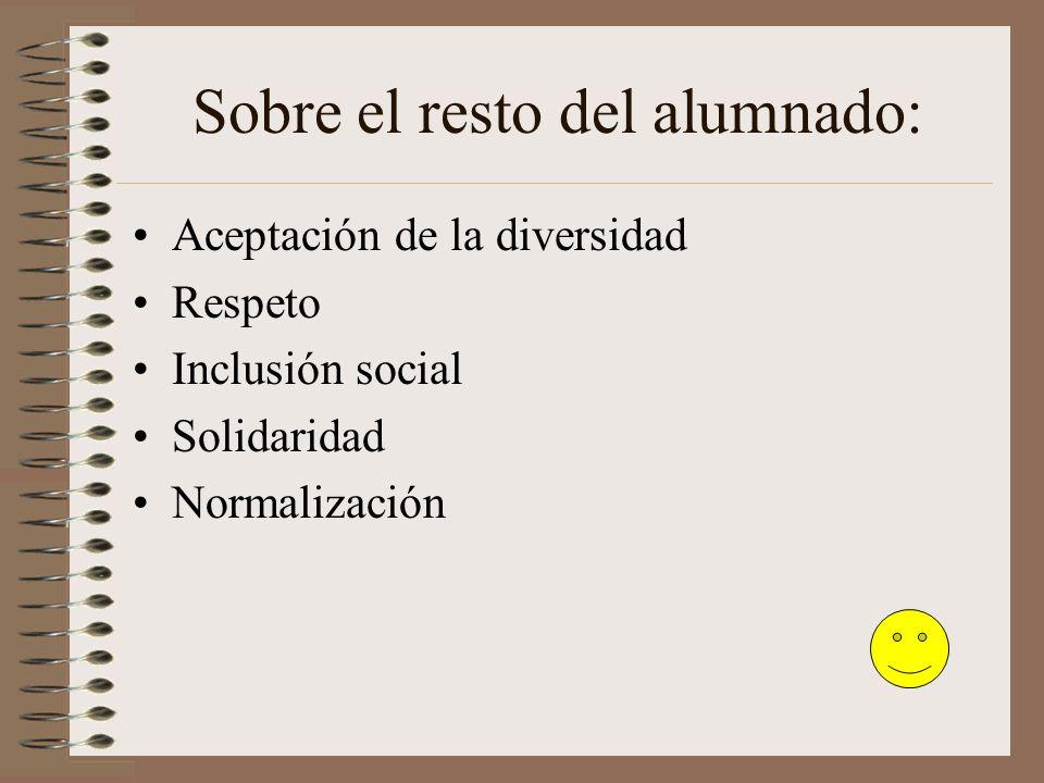 Sobre el resto del alumnado: Aceptación de la diversidad Respeto Inclusión social Solidaridad Normalización