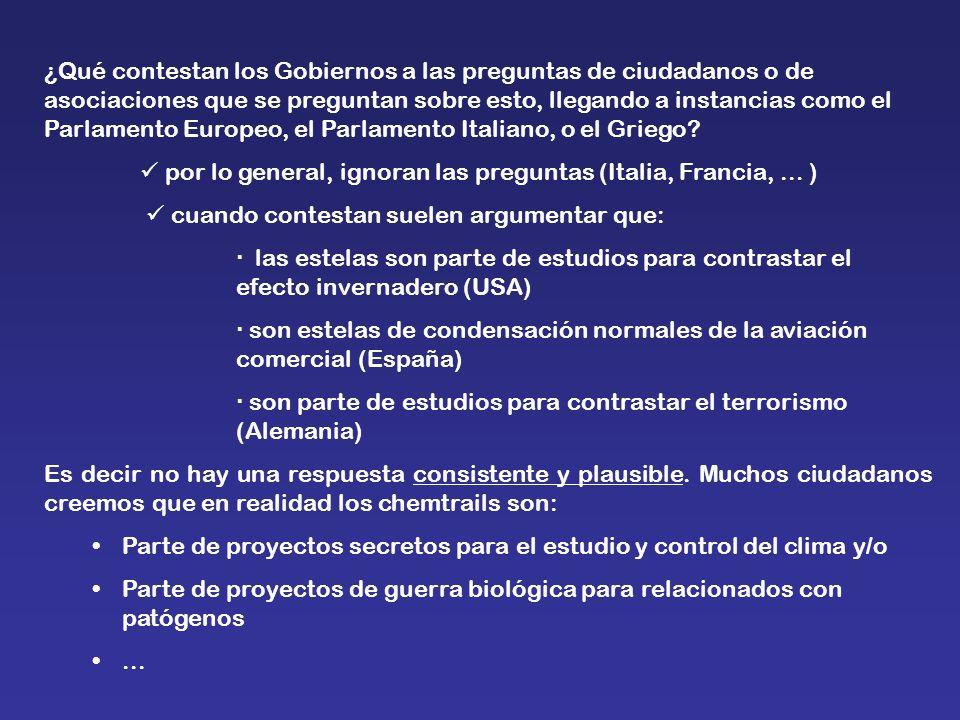 ¿Qué contestan los Gobiernos a las preguntas de ciudadanos o de asociaciones que se preguntan sobre esto, llegando a instancias como el Parlamento Eur