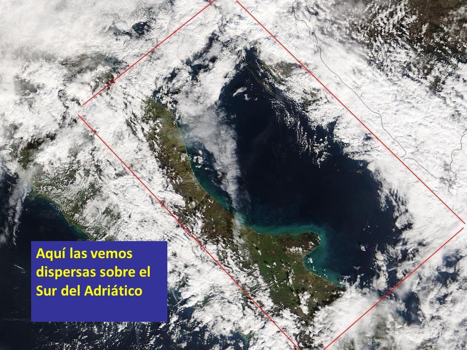 Aquí las vemos dispersas sobre el Sur del Adriático