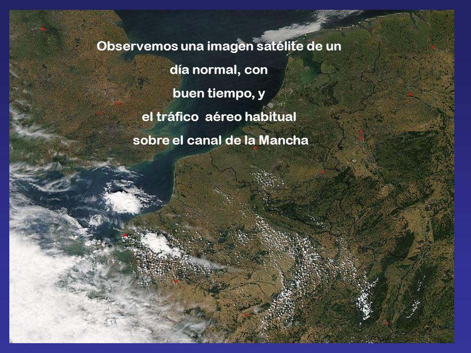 Observemos una imagen satélite de un día normal, con buen tiempo, y el tráfico aéreo habitual sobre el canal de la Mancha