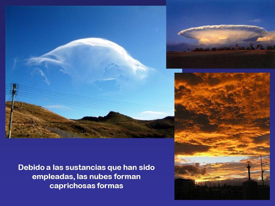 Debido a las sustancias que han sido empleadas, las nubes forman caprichosas formas