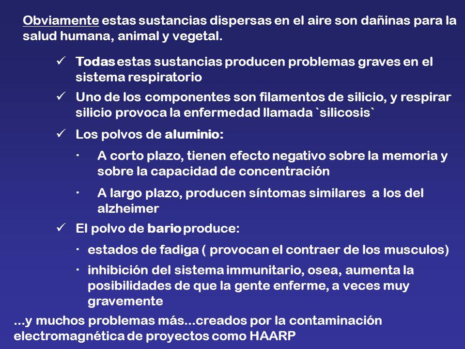 Obviamente estas sustancias dispersas en el aire son dañinas para la salud humana, animal y vegetal. Todas estas sustancias producen problemas graves