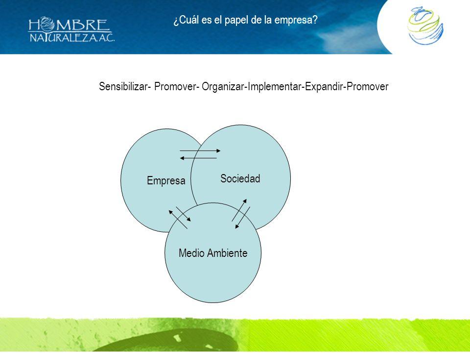 ¿Cuál es el papel de la empresa? Empresa Sociedad Medio Ambiente Sensibilizar- Promover- Organizar-Implementar-Expandir-Promover