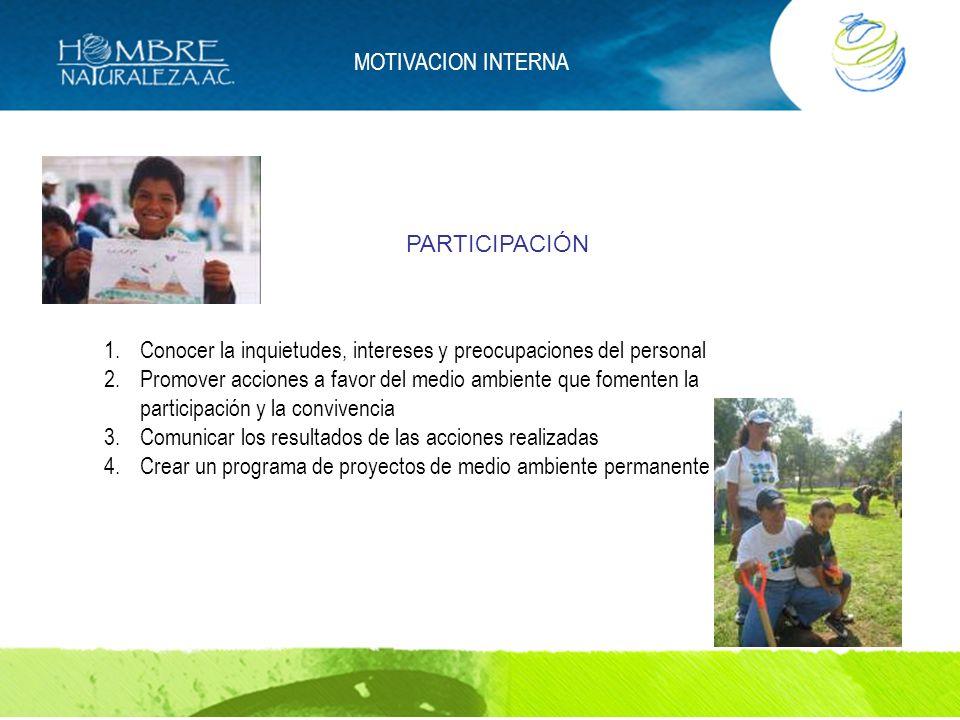 MOTIVACION INTERNA 1.Conocer la inquietudes, intereses y preocupaciones del personal 2.Promover acciones a favor del medio ambiente que fomenten la pa