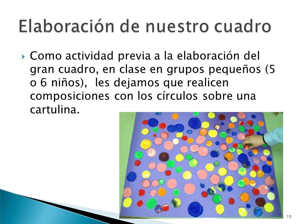 Previo a la elaboración del cuadro en grupos de 3 o 4 niños, clasificamos las figuras en círculos y no círculos. 14