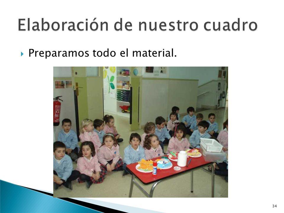 Como actividad previa a la elaboración del gran cuadro entre las cuatro clases de cuatro años, en cada aula los niños y niñas crean una composición so
