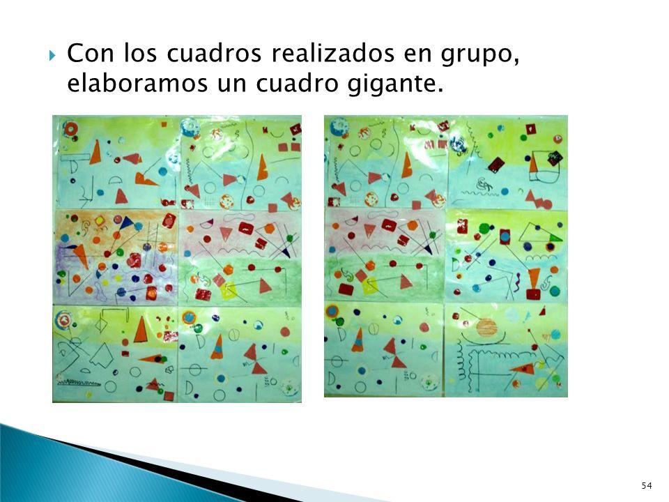 Los títulos elegidos por cada grupo son:.-Colorines.-Formas y líneas variadas..-La lluvia de las formas..-La ciudad de las formas..-Los mil colores..-
