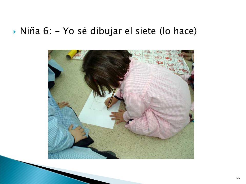 Un niño coge el lápiz y dibuja el mantel. La profesora pregunta: -¿Cómo escribimos la medida? Niño 5: - Yo sé hacer el ocho (lo hace) pero el siete no