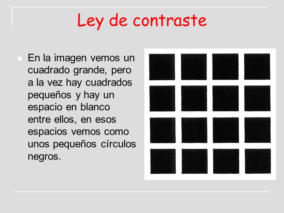 Ley de contraste En la imagen vemos un cuadrado grande, pero a la vez hay cuadrados pequeños y hay un espacio en blanco entre ellos, en esos espacios