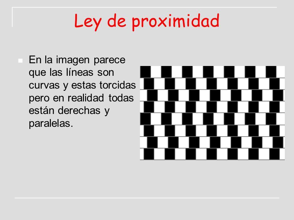 Ley de proximidad En la imagen parece que las líneas son curvas y estas torcidas pero en realidad todas están derechas y paralelas.
