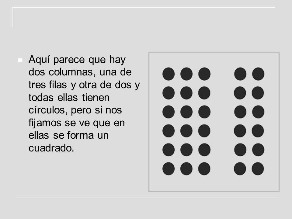Aquí parece que hay dos columnas, una de tres filas y otra de dos y todas ellas tienen círculos, pero si nos fijamos se ve que en ellas se forma un cu