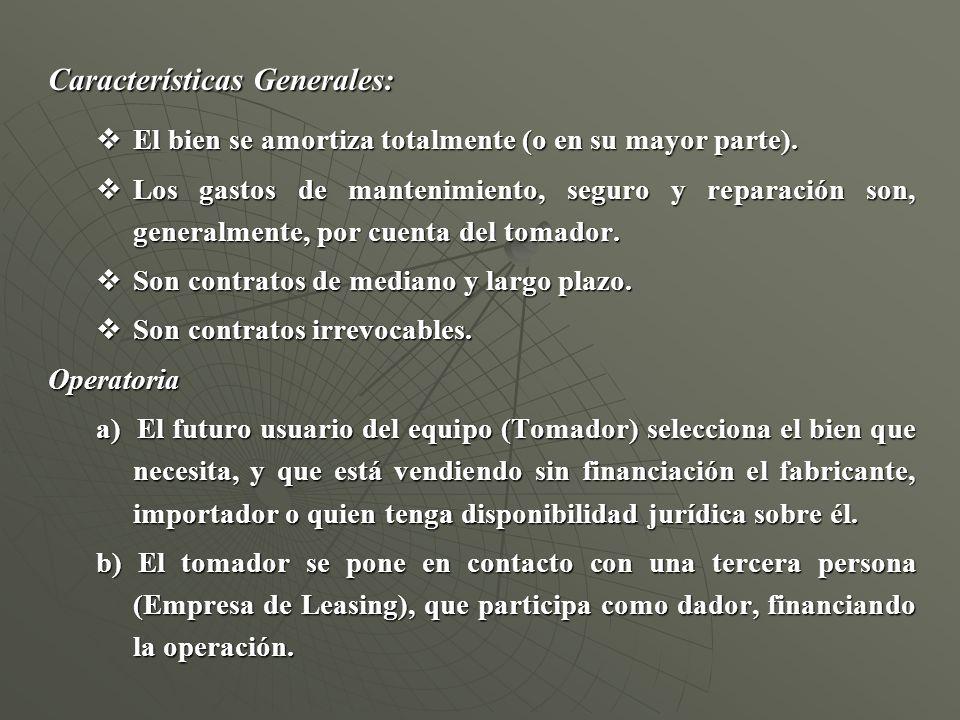 Características Generales: El bien se amortiza totalmente (o en su mayor parte). El bien se amortiza totalmente (o en su mayor parte). Los gastos de m