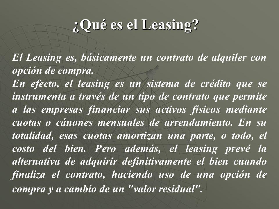 ¿Qué es el Leasing? El Leasing es, básicamente un contrato de alquiler con opción de compra. En efecto, el leasing es un sistema de crédito que se ins