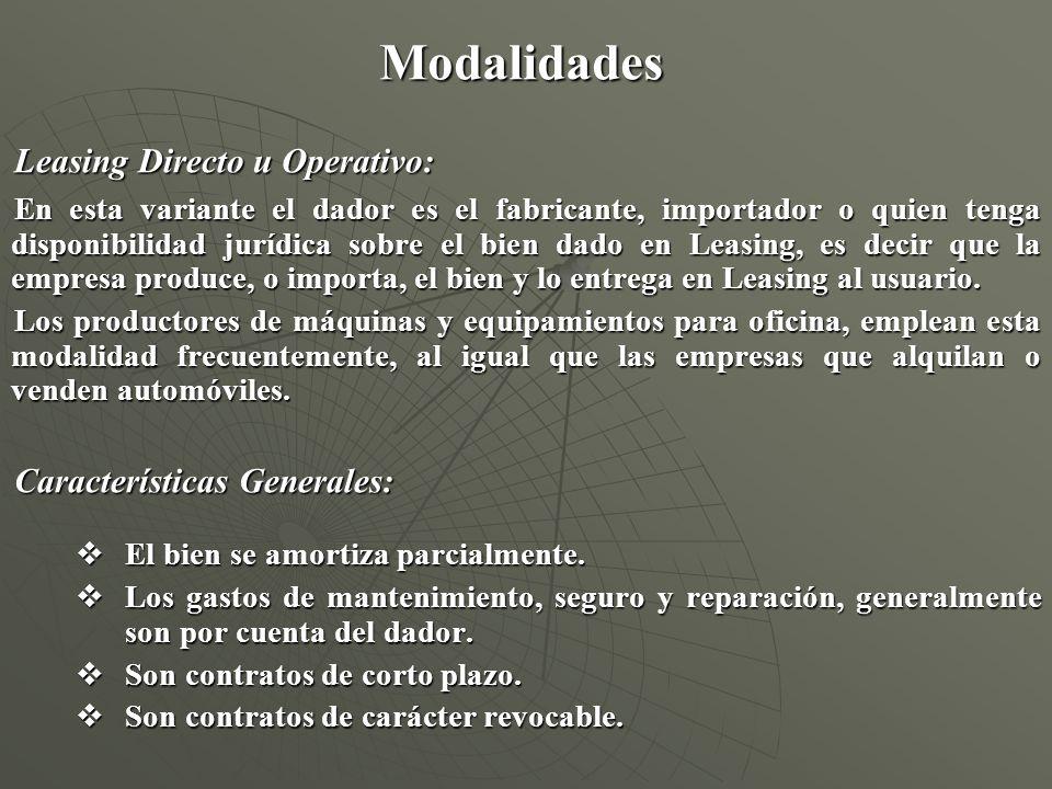 Modalidades Leasing Directo u Operativo: En esta variante el dador es el fabricante, importador o quien tenga disponibilidad jurídica sobre el bien da