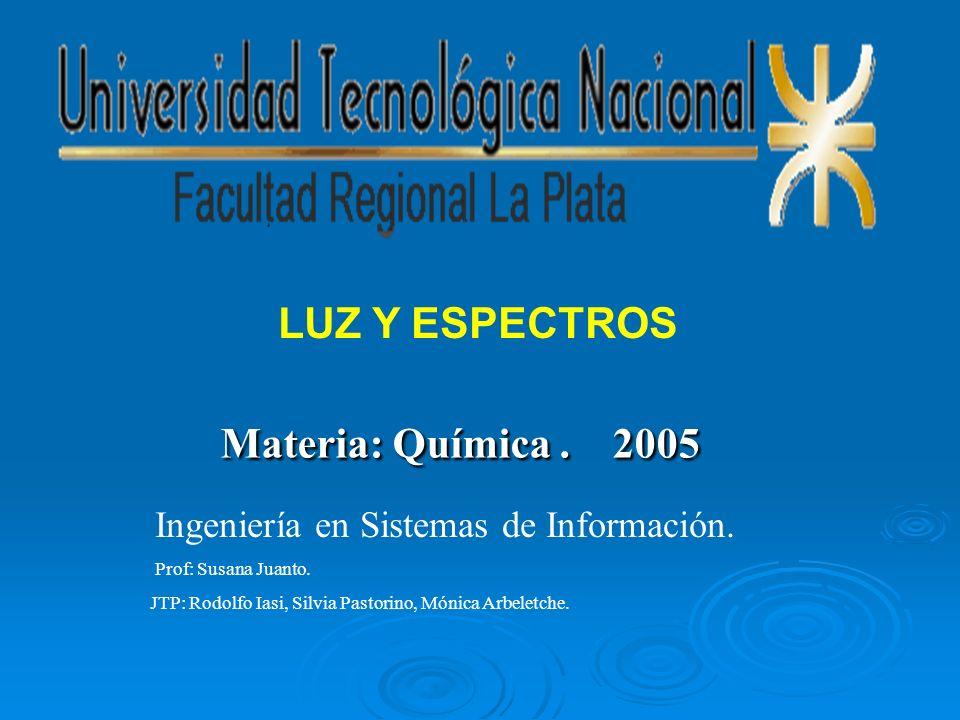 Materia: Química. 2005 Ingeniería en Sistemas de Información. Prof: Susana Juanto. JTP: Rodolfo Iasi, Silvia Pastorino, Mónica Arbeletche. LUZ Y ESPEC