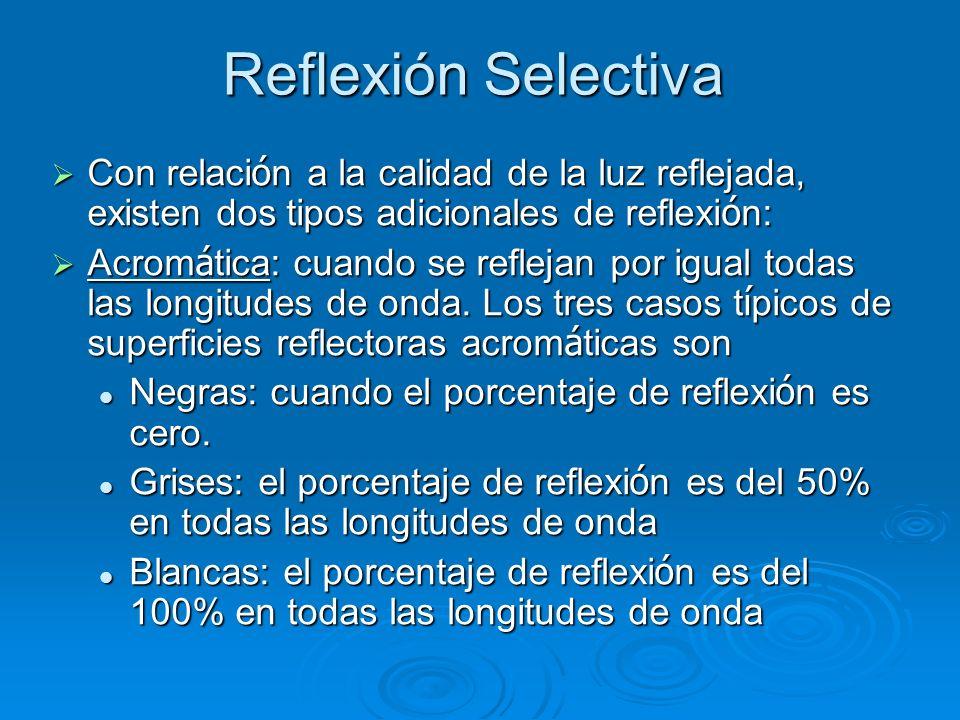 Reflexión Selectiva Con relaci ó n a la calidad de la luz reflejada, existen dos tipos adicionales de reflexi ó n: Con relaci ó n a la calidad de la l