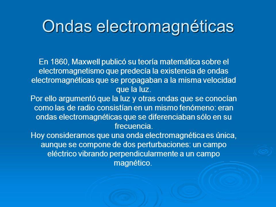 Ondas electromagnéticas En 1860, Maxwell publicó su teoría matemática sobre el electromagnetismo que predecía la existencia de ondas electromagnéticas