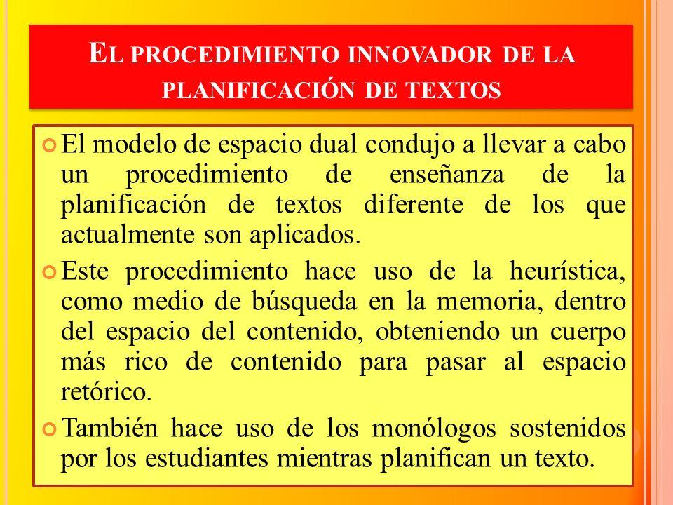 E L PROCEDIMIENTO INNOVADOR DE LA PLANIFICACIÓN DE TEXTOS El modelo de espacio dual condujo a llevar a cabo un procedimiento de enseñanza de la planif