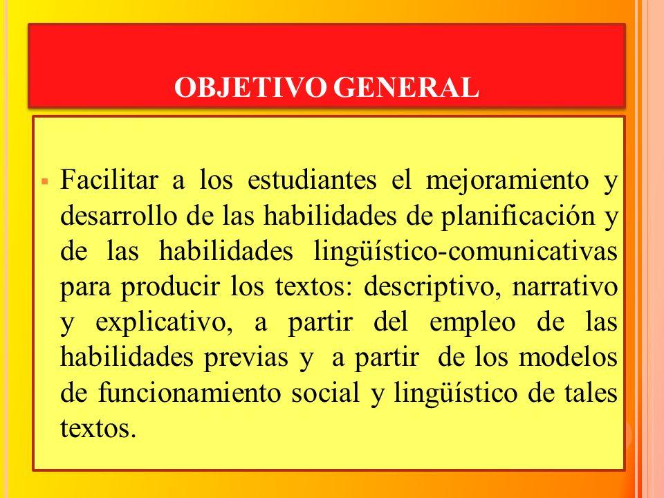 OBJETIVO GENERAL Facilitar a los estudiantes el mejoramiento y desarrollo de las habilidades de planificación y de las habilidades lingüístico-comunic