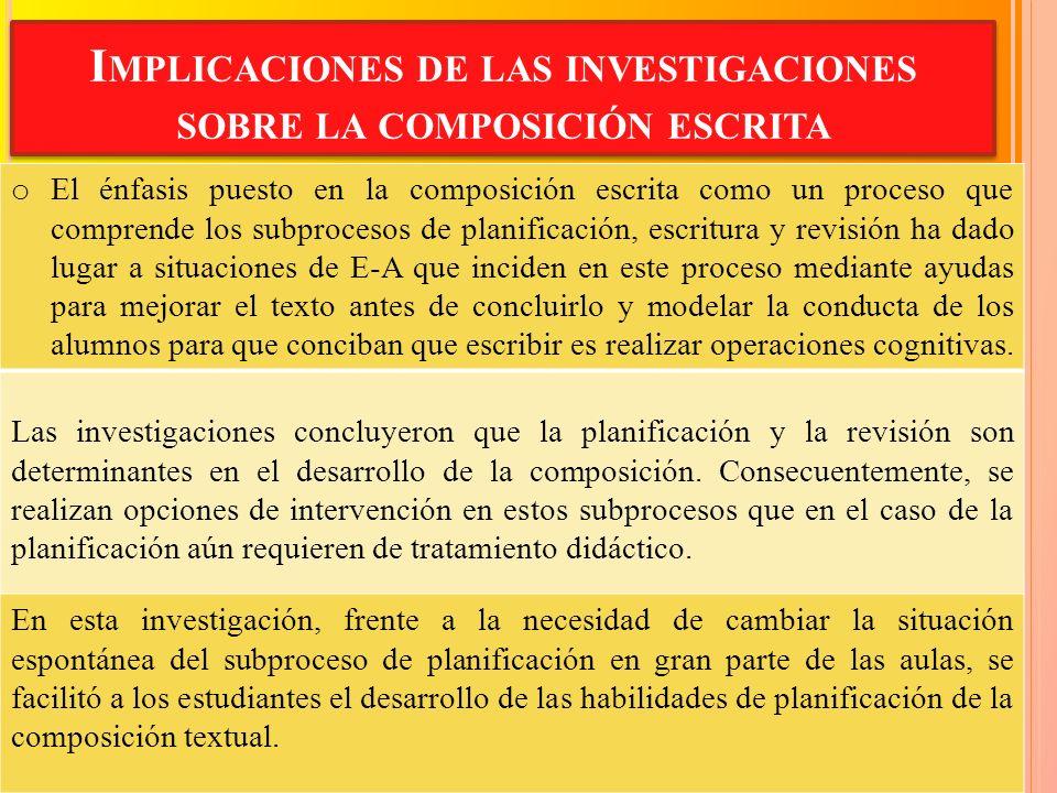 I MPLICACIONES DE LAS INVESTIGACIONES SOBRE LA COMPOSICIÓN ESCRITA o El énfasis puesto en la composición escrita como un proceso que comprende los sub