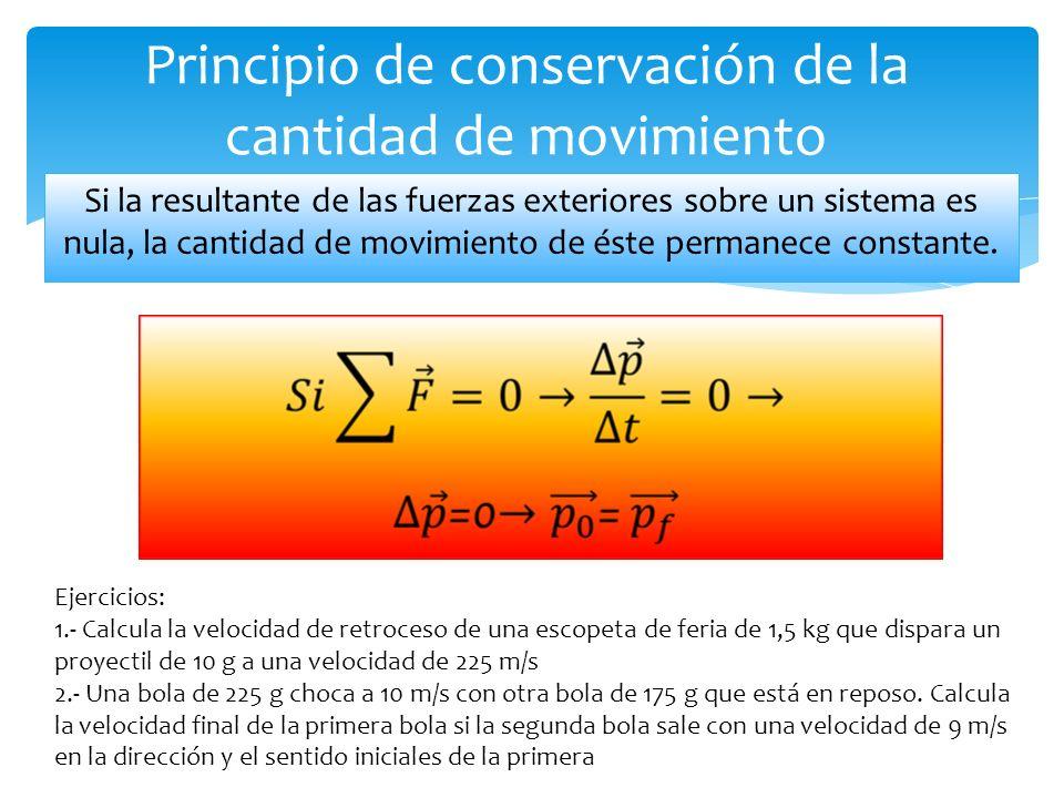 Principio de conservación de la cantidad de movimiento Si la resultante de las fuerzas exteriores sobre un sistema es nula, la cantidad de movimiento de éste permanece constante.