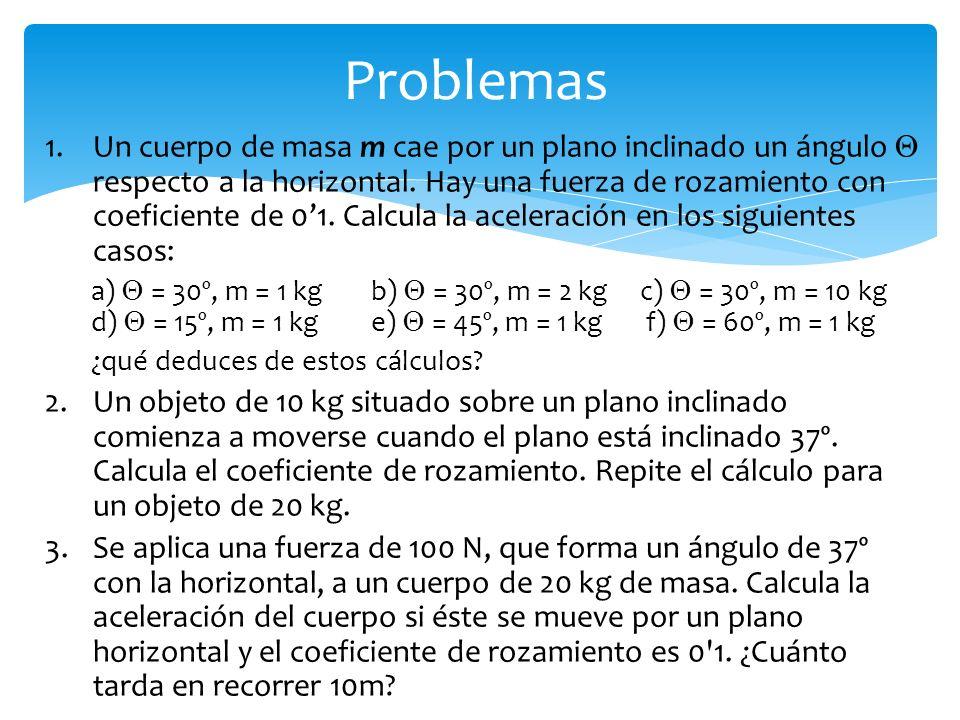 Problemas 1.Un cuerpo de masa m cae por un plano inclinado un ángulo respecto a la horizontal.