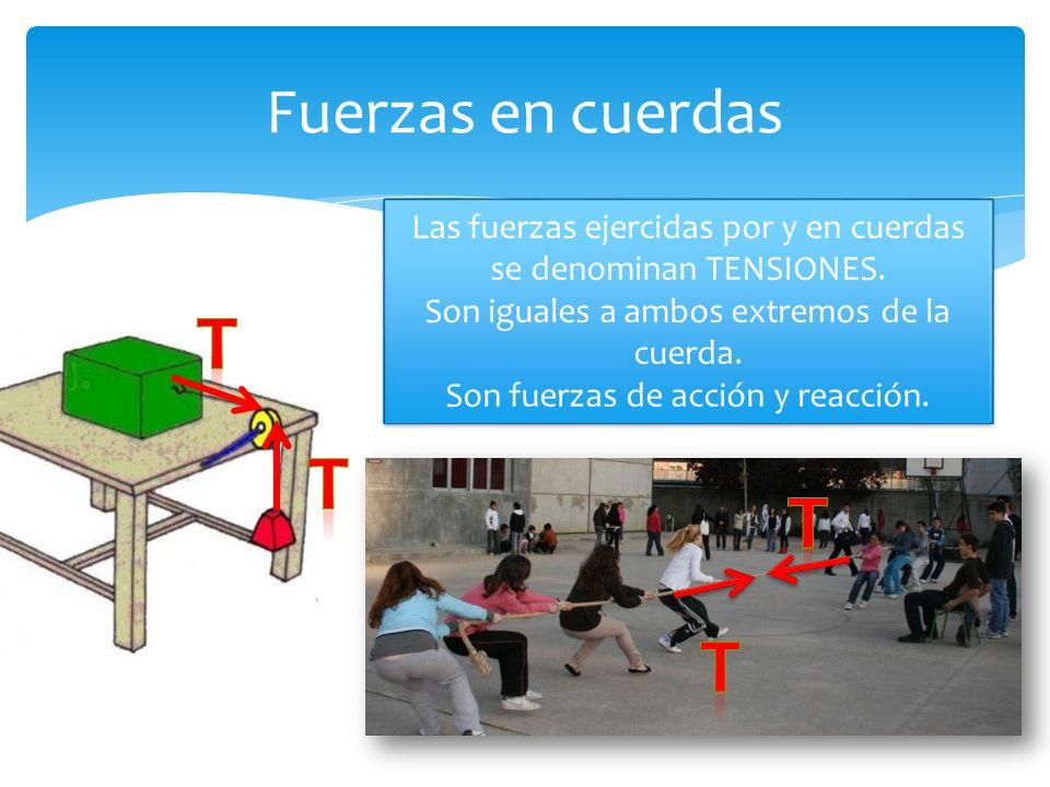 Fuerzas en cuerdas Las fuerzas ejercidas por y en cuerdas se denominan TENSIONES.