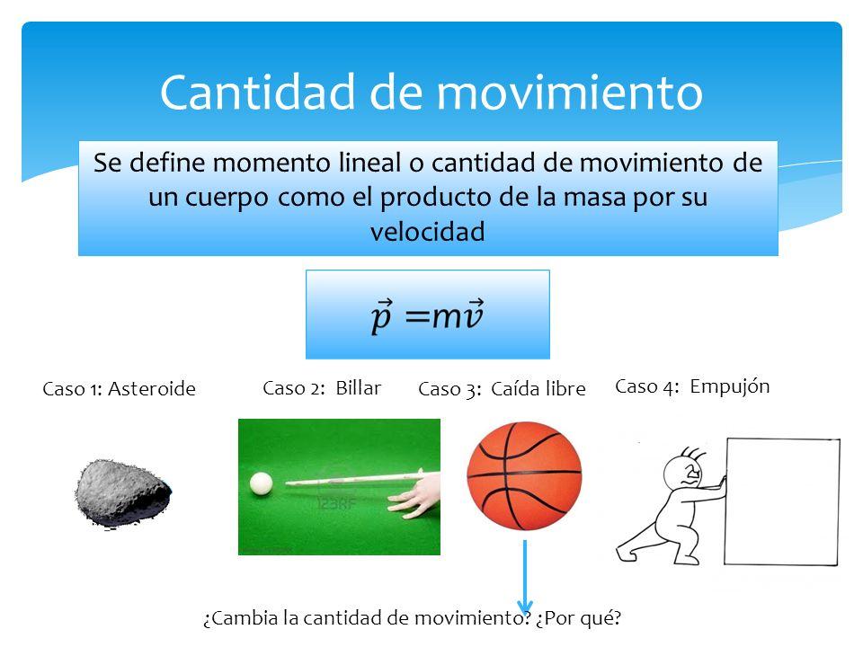 Se define momento lineal o cantidad de movimiento de un cuerpo como el producto de la masa por su velocidad Cantidad de movimiento Caso 3: Caída libreCaso 1: Asteroide Caso 2: Billar ¿Cambia la cantidad de movimiento.