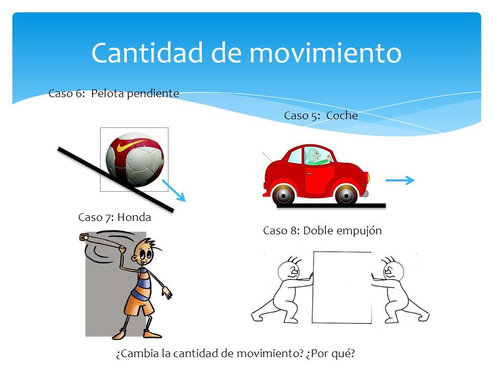 Cantidad de movimiento Caso 5: Coche Caso 7: Honda Caso 6: Pelota pendiente ¿Cambia la cantidad de movimiento.