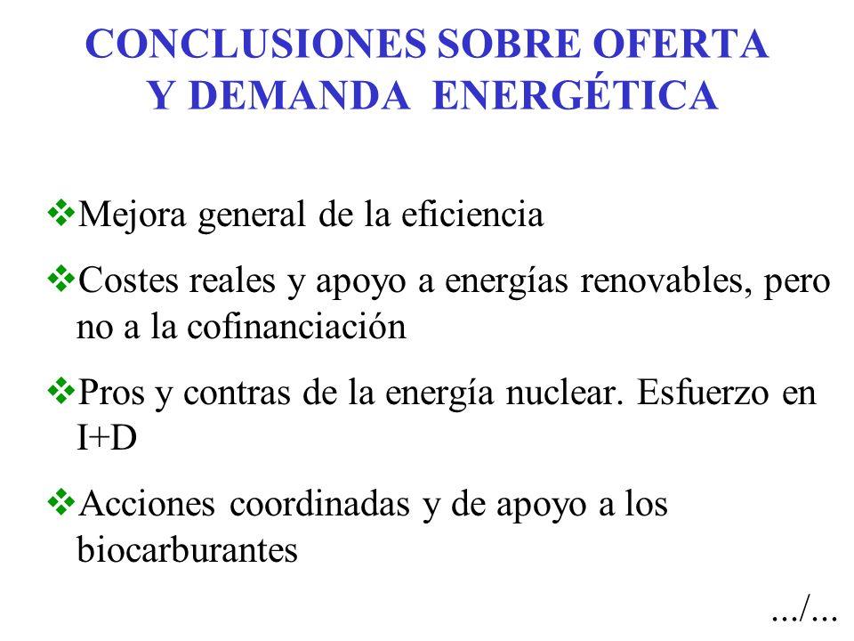 CONCLUSIONES SOBRE OFERTA Y DEMANDA ENERGÉTICA Mejora general de la eficiencia Costes reales y apoyo a energías renovables, pero no a la cofinanciación Pros y contras de la energía nuclear.