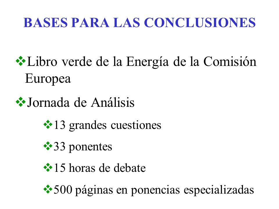 BASES PARA LAS CONCLUSIONES Libro verde de la Energía de la Comisión Europea Jornada de Análisis 13 grandes cuestiones 33 ponentes 15 horas de debate 500 páginas en ponencias especializadas