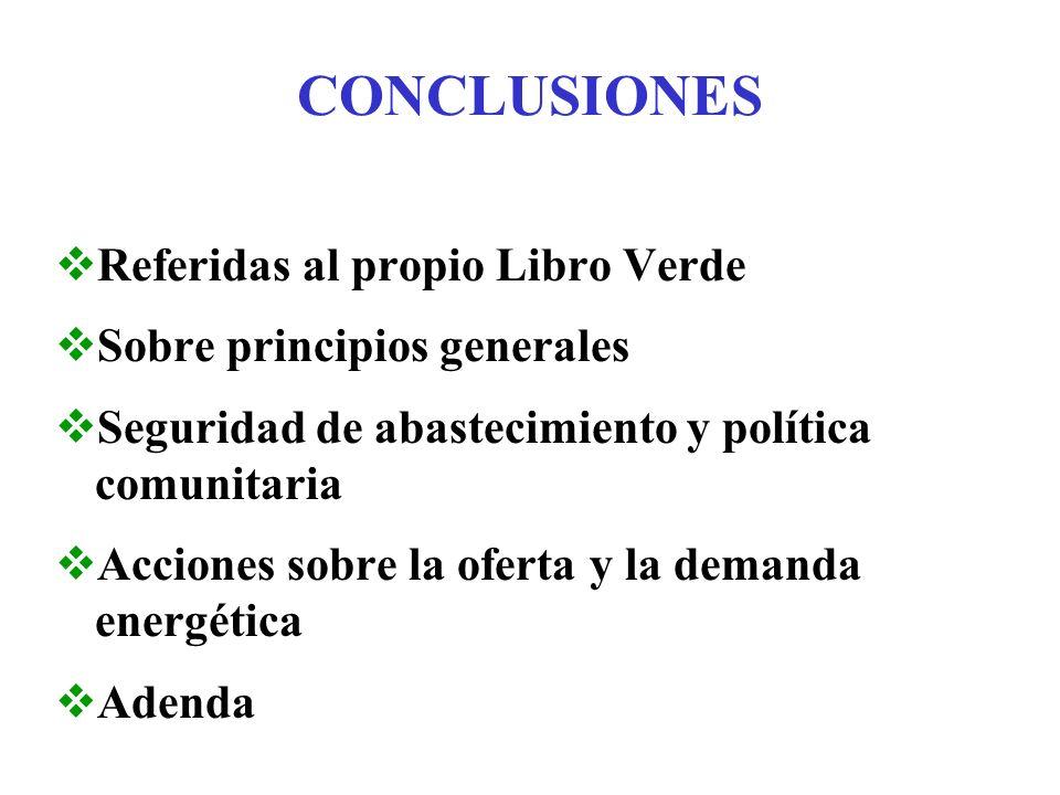 CONCLUSIONES REFERIDAS AL LIBRO VERDE Oportunidad y relevancia de preguntas planteadas......