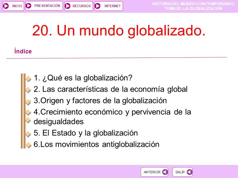 HISTORIA DEL MUNDO CONTEMPORÁNEO TEMA 20: LA GLOBALIZACIÓN RECURSOSINTERNETPRESENTACIÓN INICIO 20.
