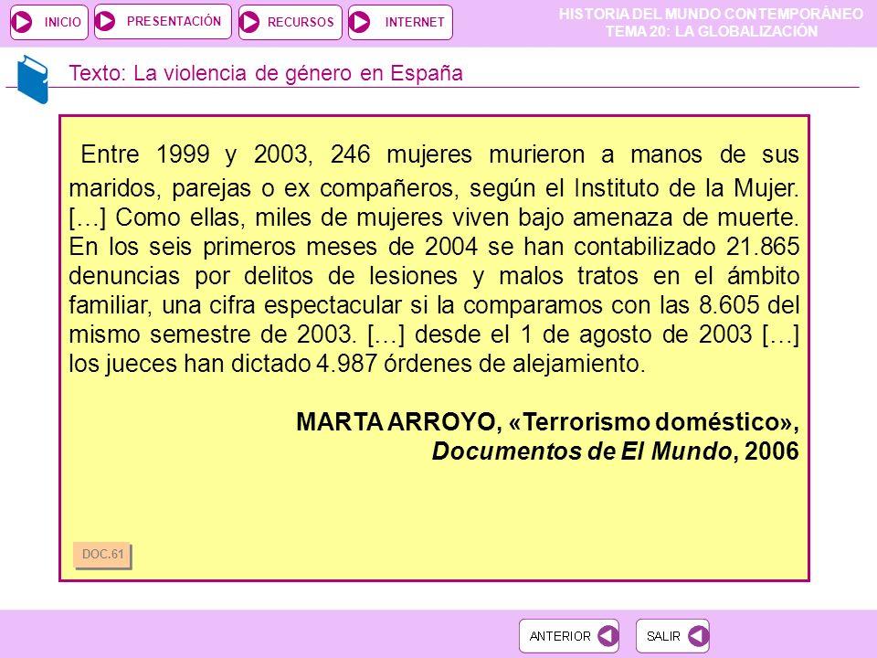 HISTORIA DEL MUNDO CONTEMPORÁNEO TEMA 20: LA GLOBALIZACIÓN RECURSOSINTERNETPRESENTACIÓN INICIO Texto: La violencia de género en España Entre 1999 y 2003, 246 mujeres murieron a manos de sus maridos, parejas o ex compañeros, según el Instituto de la Mujer.
